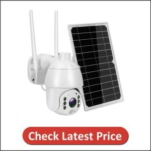 Facamword Outdoor PTZ Security Camera with Solar Panel