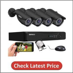 SANSCO 8CH 5MP 4Pcs Wired 2K HD Home Security Camera System